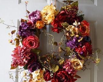 Spring Wreath Pink, Red ,Purple Rose, Peony Hydrangea Wreath, Large Wreath