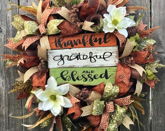 Fall Wreath, Thankful Wreath, Blessed Wreath, Grateful Wreath, Thanksgiving Wreath, Autumn Wreath, Magnolia Wreath, Fall Decor