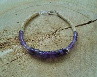 Amethyst bracelet, on 925 minimalist coconut wood