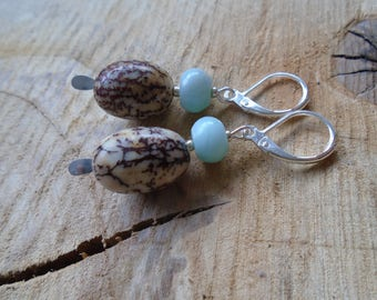 Amazonite, natural seeds and 925 Sterling Silver earrings / / nature jewelry