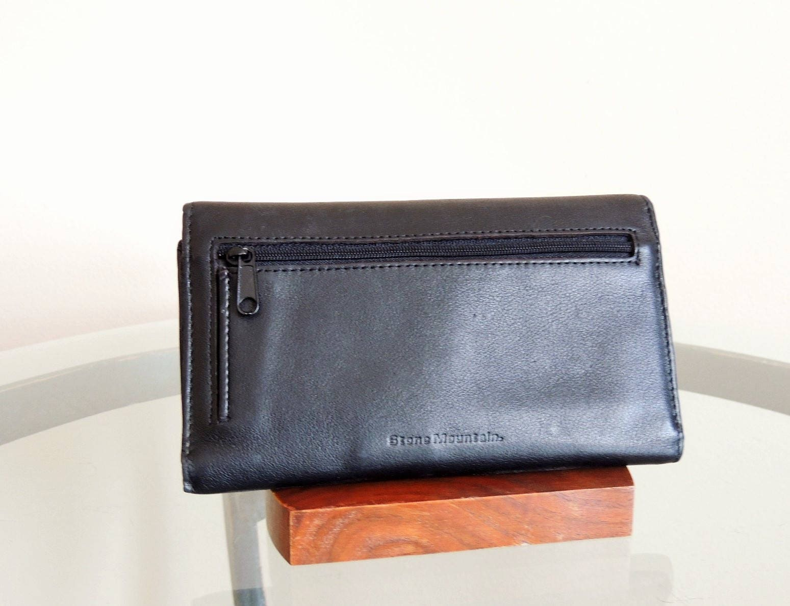 Vtg Black Leather Wallet, Stone Mountain Folding Wallet, Business ...