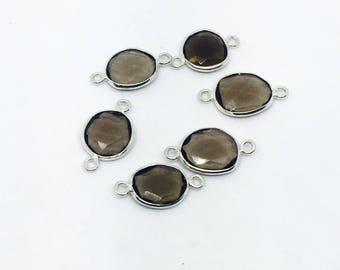 smokey topaz sterling silver 925 connector charms.  Freefoem 21x11mm. Genuine natural fascited smokey topaz stones.