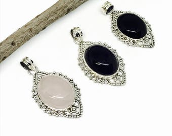 Amethyst, Rosequartz, Blackonyx pendant set in sterling silver (92.5). Natural authentic stones. Length-1.79 inch.