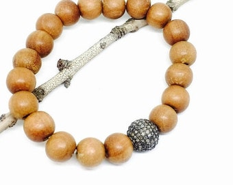 10% Sandalwood bead and Pave diamond bead, ball  stretch bracelet set in Sterling silver 925. 10mm. Natural authentic diamonds and sandalwoo