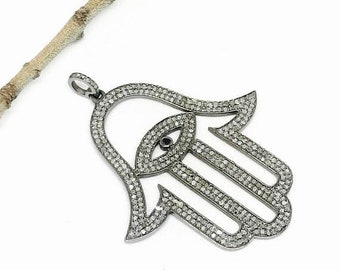10% Pave diamond hamsa, shemoni, hand, evil eye pendant set in antique finish Sterling silver (92.5). Length- .Genuine authentic diamonds.