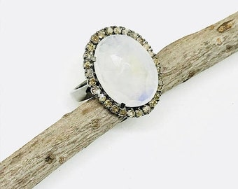 10% Pave diamond faceted rainbow moonstone ring set in sterling silver 925. Natural authentic moonstone and diamonds. Size- 5