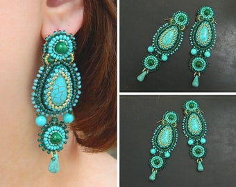 Turquoise green earrings Bead embroidered earrings Beadwork jewelry Long earrings dangle Cabochon earrings Beaded embroidery earrings