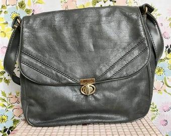 Vintage 1980s grey shoulder bag