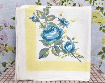 Vintage 50s set of 4 rose floral linen dinner napkins