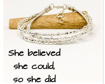 She believed she could, so she did, Morse code bracelet, motivational bracelet, hidden message bracelet, leather and sterling silver