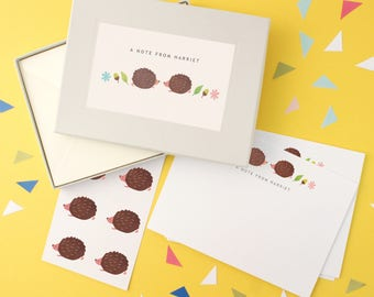 Personalised Hedgehog Notecards Writing Set
