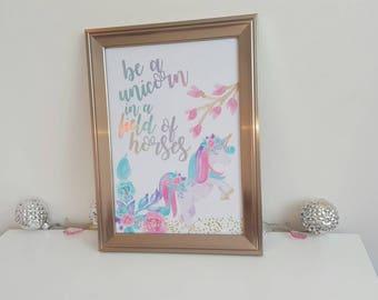 Unicorn frame, foil print, A4, framed print, unicorn love, motivational quotes, inspirational home decor, unicorn gift birthday, for her