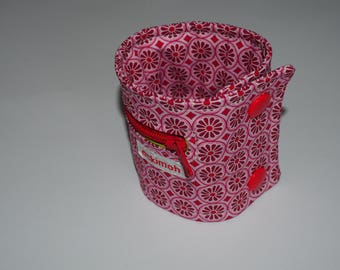 Wrist bag rosa-red retro flowers