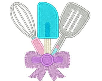 Kitchen Utensils Machine Embroidery Design with Bow Kitchen Embroidery Designs Filled stitch 4X4 5X7 8X8 6X10 Instant download
