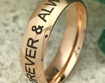 6mm Stainless Steel Wedding Ring, Personalized Engrave Rose Gold Plated Stainless Steel Promise Ring, Anniversary Ring-SSR577-6mm