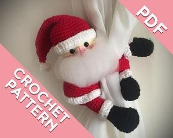 Santa, Father Christmas curtain tie back crochet PATTERN, tieback, left or right side crochet pattern PDF instant download amigurumi PATTERN