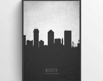 Wichita Skyline Print, Wichita Cityscape, Wichita Art, Wichita Poster, Wichita Decor, Home Decor, Gift Idea, USKSWI19P
