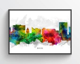 Boise Idaho Skyline Poster, Boise Cityscape, Boise Print, Boise Wall Art, Boise Decor, Home Decor, Gift Idea, USIDBO12P