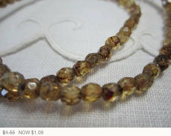 ON SALE Czech Fire Polished Round Faceted Beads Brown Czech Glass Beads Brown Picasso Beads Tan Faceted Beads (20pcs) 6V2