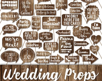 Wedding Photo Booth Prop Signs and Decorations - Rustic Wood Fence Wedding Printables - Over 50 Images - Printable Wedding Photobooth Props