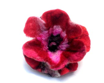 Pink and red Felt Pansy Flower Dual Brooch Hairclip Hand Felted Wool Pretty pink Little woollen flower brooch Authentic Hipster flower OOAK