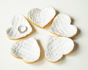 Wedding Favors for Guests, 5 pieces, Ceramic Heart, Little Heart Bowl, Wedding Party Favors, Ceramics and Pottery, White Heart, Guest Gift