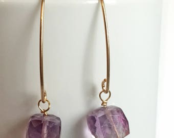 SALE!! Square Amethyst Bead Earrings | AmethystEarrings |  dangle Earrings | Gold Dangle Earrings | Purple Gemstones