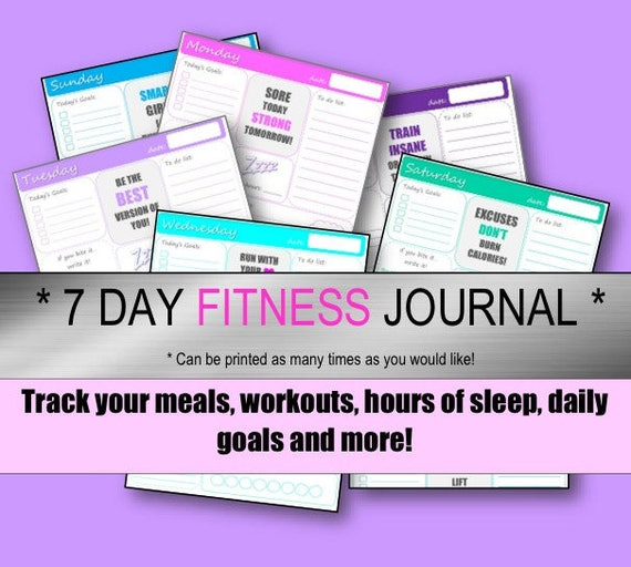 Impeccable image with printable fitness journals