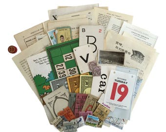 Vintage paper ephemera pack. Multicolour ephemera Collage Art Pack with 50 pieces. (Set lotto 10)