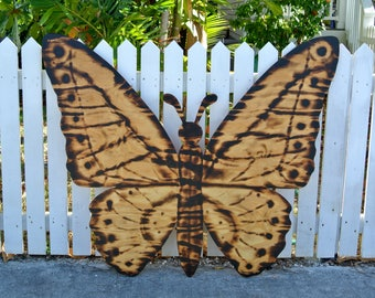 Large Wood Burning Sign, Butterfly Decor, Wooden Butterfly Wall Art, Housewarming Gift Idea