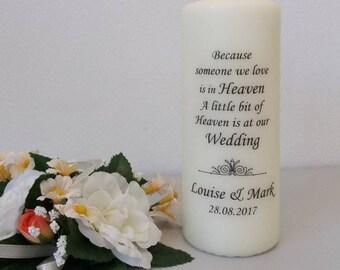 Personalised Swirls (Heaven) Wedding Absence / Memorial / In Loving Memory candle
