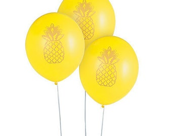 6/Sweet Pineapple and Gold Party Latex Balloons / Luau Party / Luau Theme / Pineapple theme
