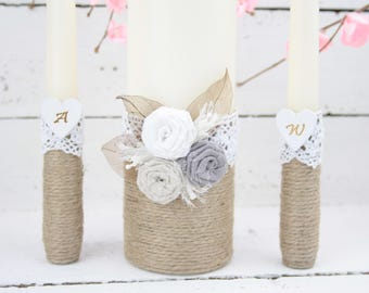 Rustic Unity Candle Set, Wedding Ceremony Candle Set, Unity Candle Set, Wedding Centrepieces