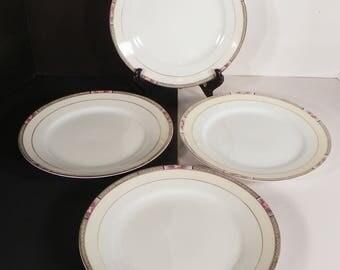 Noritake Seville Luncheon Plate (s) LOT OF 5 Black Rim Pink Roses Vintage Sauce Dessert