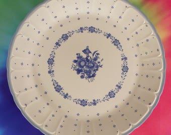 Sango Renaissance ARCADIA BLUE Chop Plate Round Serving Platter Stoneware Floral