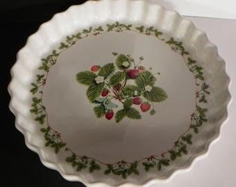 Portmeirion Quiche Dish Summer Strawberries Pie Plate Round Baking Vintage
