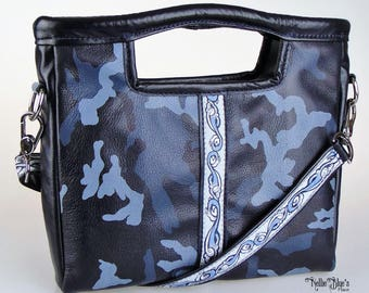 Navy Blue Camo Leather Crossbody Bag/Clutch, Camouflage Cross Body Clutch, Small Camo Crossbody Bag (Ready to Ship)