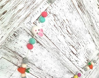 Easter bunnies, carrot & chicks garland. felt ball garland decor, Easter decor Garland 6.5ft. Easter Garland. Yellow Easter chicks.