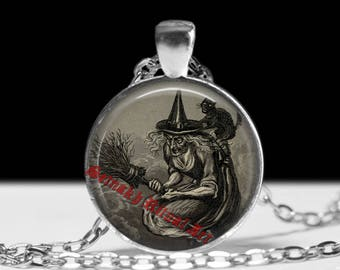 Witchcraft pendant Flying witch necklace Occult jewelry  gothic jewellery #419