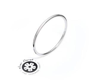 14K White Gold Band, 1mm Ultra Thin Ring Band, Plain, Full Round, Gold Ring Spacer, Ring Divider
