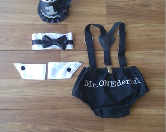 1st Birthday Cake Smash Outfit Photo Shoot Black and White Tuxedo Little Man Mr. Onederful Diaper Cover Bow Tie Top Hat Suspenders Baby Boy