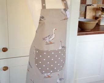 Apron, Taupe Geese & Dotty Womens Apron, Adjustable Apron, Full Apron, Womens Apron, Goose Apron, Baking, Kitchen Accessory, Gift for Her