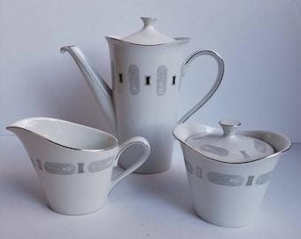 Grace China Empress Platinum Pattern Tea Pot with Cream and Sugar Bowls