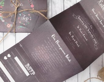 Personalised Wedding Invitations  Accordion style Floral Chalkboard * Handmade* With Kraft Envelopes, Tags & Twine