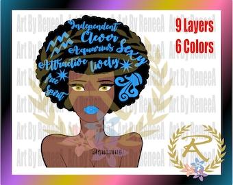Aquarius, Woman, Zodiac Sign, Afro (SVG, DXF, EPS, Studio3)