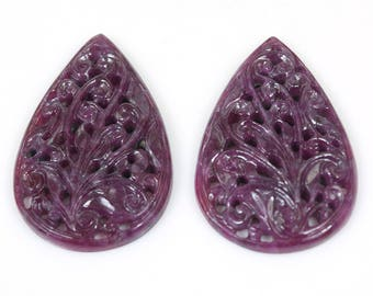 100% Natural Ruby Untreated Hand Carved : 101.00cts. Natural Genuine Ruby Hand Carved Pear Loose Gemstone 44*28mm