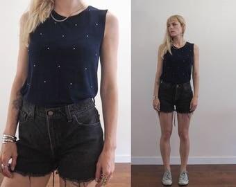 vintage 90's slinky knit rhinestone top // minimalist glam grunge