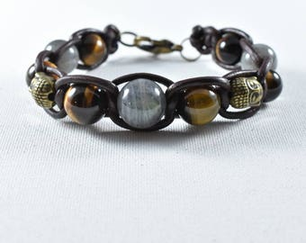 labradorite HQ14mm range top ohm sign Tiger eye Buddha bracelet