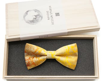 Yellow Oriental Pattern Bowtie - Modern Boys Bowtie, Toddler Bowtie, Groomsmen bow tie, Wedding Pre Tied and Adjustable Novioshk, H0162