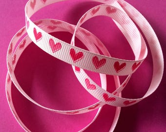 5 meters of Ribbon 10mm pink light pink hearts with darker